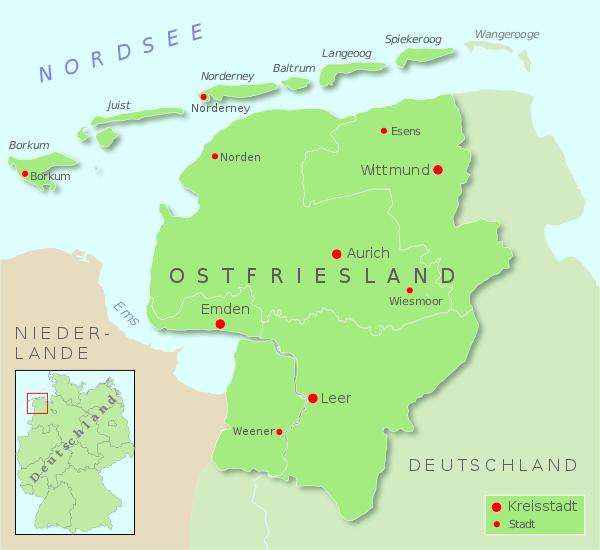 Mapa Ostfriesland