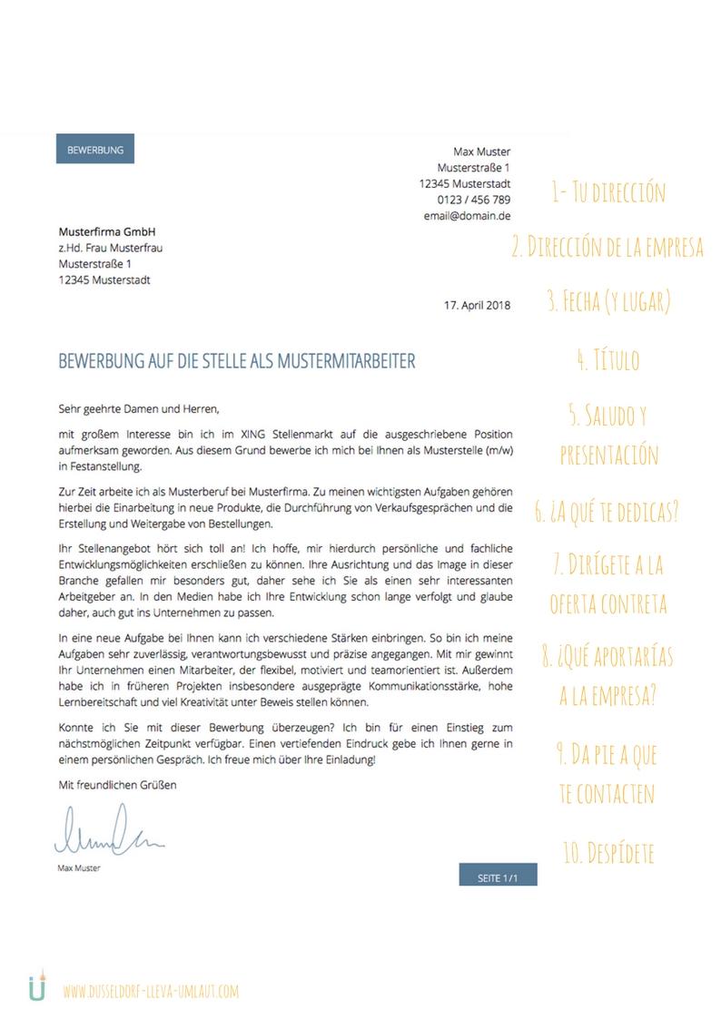 carta de presentacion aleman ejemplo